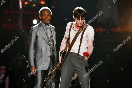 """Andre De Shields, Reeve Carney. Andre De Shields, left, and Reeve Carney, of the cast of """"Hadestown"""" perform at the 73rd annual Tony Awards at Radio City Music Hall, in New York"""