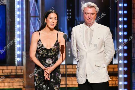 Vanessa Carlton, David Byrne. Vanessa Carlton, left, and David Byrne speak at the 73rd annual Tony Awards at Radio City Music Hall, in New York