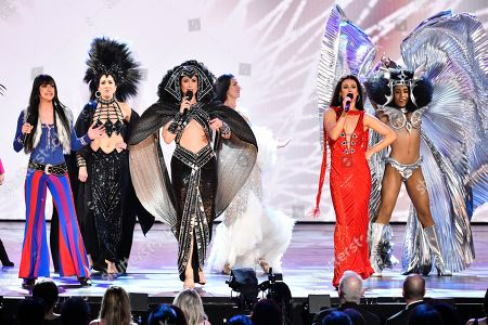 """Micaela Diamond, Stephanie J. Block, Teal Wicks. The cast of """"The Cher Show"""" perform at the 73rd annual Tony Awards at Radio City Music Hall, in New York"""