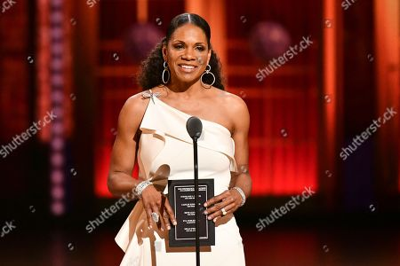 Audra McDonald presents the award for best performance by an actress in a leading role in a musical at the 73rd annual Tony Awards at Radio City Music Hall, in New York