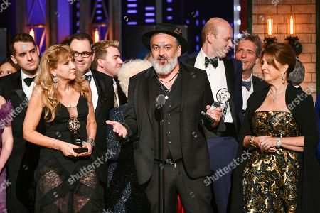 """Jez Butterworth, and the company of """"The Ferryman,"""" accept the award for best play at the 73rd annual Tony Awards at Radio City Music Hall, in New York"""
