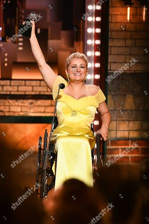 "Ali Stroker accepts the award for best performance by an actress in a featured role in a musical for ""Rodgers & Hammerstein's Oklahoma!""at the 73rd annual Tony Awards at Radio City Music Hall, in New York"