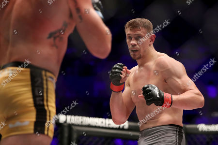 Maxim Grishin in action against Jordan Johnson during their regular season mixed martial arts bout at PFL 3, at the Nassau Coliseum (NYCB Live) in Uniondale, NY. Grishin won via decision