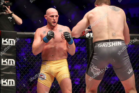 Jordan Johnson in action against Maxim Grishin during their regular season mixed martial arts bout at PFL 3, at the Nassau Coliseum (NYCB Live) in Uniondale, NY. Grishin won via decision