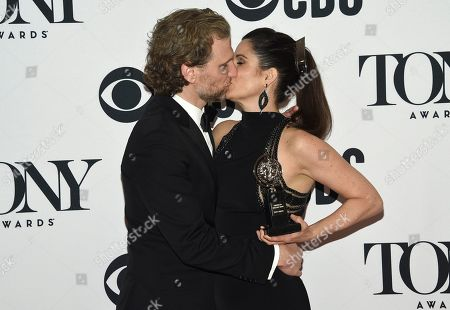 "Sebastian Arcelus, Stephanie J. Block. Sebastian Arcelus, left, and Stephanie J. Block, winner of the award for best performance by an actress in a leading role in a musical for ""The Cher Show,"" kiss in the press room at the conclusion of 73rd annual Tony Awards, in New York"
