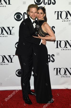 "Sebastian Arcelus, Stephanie J. Block. Sebastian Arcelus, left, and Stephanie J. Block, winner of the award for best performance by an actress in a leading role in a musical for ""The Cher Show,"" pose in the press room at the 73rd annual Tony Awards, in New York"