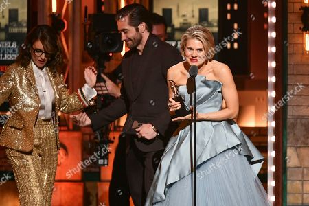"""Celia Keenan-Bolger, Tina Fey, Jake Gyllenhaal. Celia Keenan-Bolger accepts the award for best performance by an actress in a featured role in a play for """"To Kill a Mockingbird,"""" at the 73rd annual Tony Awards at Radio City Music Hall, in New York. In background, from left, are presenters Tina Fey and Jake Gyllenhaal"""