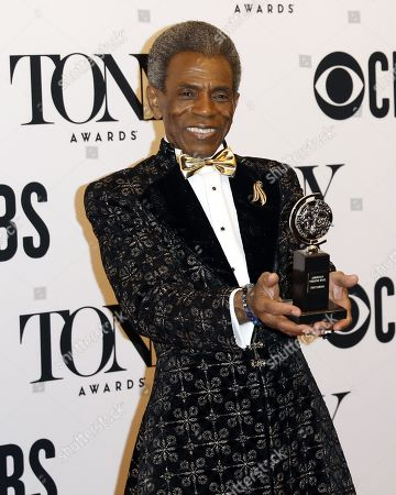 """Andre De Shields poses in the press room with the award for best performance by an actor in a featured role in a musical for """"Hadestown"""" at the 73rd annual Tony Awards in New York, New York, USA, 09 June 2019. The annual awards honor excellence in Broadway theatre."""