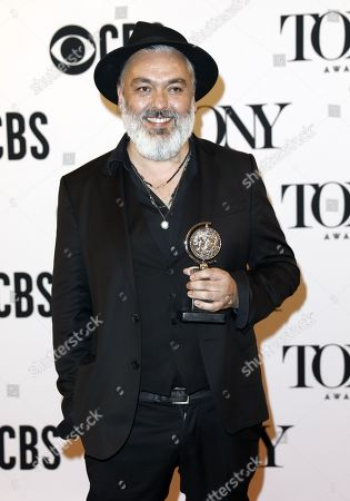 """Jez Butterworth poses in the press room with the award for best play for """"The Ferryman"""" at the 73rd annual Tony Awards in New York, New York, USA, 09 June 2019. The annual awards honor excellence in Broadway theatre."""