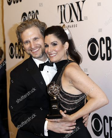 "Sebastian Arcelus (L) and Stephanie J. Block, winner of the award for best performance by an actress in a leading role in a musical for ""The Cher Show,"" poses in the press room at the conclusion of 73rd annual Tony Awards in New York, New York, USA, 09 June 2019. The annual awards honor excellence in Broadway theatre."