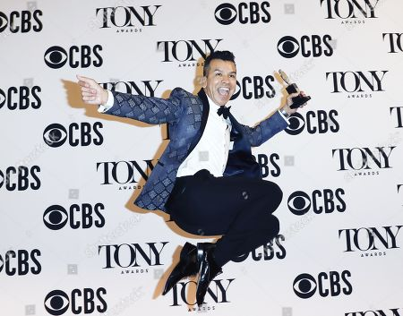 """Sergio Trujillo with his Best Choreography award for """"Ain't Too Proud - The Life and Times of the Temptations."""" in the press room during the 2019 Tony Awards at Radio City Music Hall in New York, New York, USA, 09 June 2019. The annual awards honor excellence in Broadway theatre."""