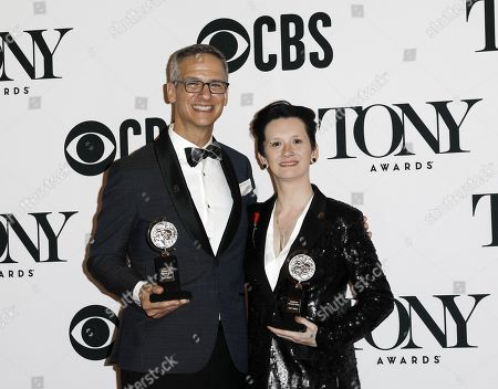 """Stock Image of Nevin Steinberg and Jessica Paz pose with their Best Sound Design in a Musical award for """"Hadestown"""" in he press room at the 73rd annual Tony Awards in New York, New York, USA, 09 June 2019. The annual awards honor excellence in Broadway theatre."""