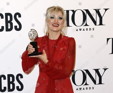"""Anais Mitchell poses with the award for best original score for """"Hadestown"""" in the press room during the 2019 Tony Awards at Radio City Music Hall in New York, New York, USA, 09 June 2019. The annual awards honor excellence in Broadway theatre."""