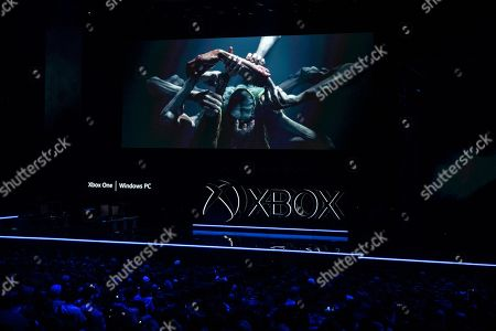 Images of the game 'Elden Ring' by Hidetaka Miyazaki and George R. R. Martin are broadcast on giant screens during the Microsoft Microsoft Xbox 2019 Briefing at the Microsoft Theater in Los Angeles, California, USA, 09 June 2019. This event occured ahead of the Electronic Entertainment Expo (E3) which runs from 11 to 13 June 2019.