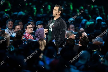 Executive vice-president of Gaming at Microsoft Phil Spencer delivers a speech during the Microsoft Microsoft Xbox 2019 Briefing at the Microsoft Theater in Los Angeles, California, USA, 09 June 2019. This event occured ahead of the Electronic Entertainment Expo (E3) which runs from 11 to 13 June 2019.