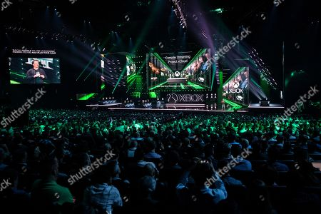 Executive vice-president of Gaming at Microsoft Phil Spencer presents the Microsoft project 'xCloud' on stage during the Microsoft Microsoft Xbox 2019 Briefing at the Microsoft Theater in Los Angeles, California, USA, 09 June 2019. This event occured ahead of the Electronic Entertainment Expo (E3) which runs from 11 to 13 June 2019.