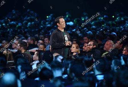 Phil Spencer, Head of Xbox, speaks in the crowd at the Xbox E3 2019 Briefing at the Microsoft Theater at L.A. Live, in Los Angeles