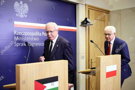 Polish Foreign Minister Jacek Czaputowicz (R) and Foreign Affairs Minister of the Palestinian National Authority Riyad al-Maliki (L) attend a press conference after their meeting in Warsaw, Poland, 10 June 2019.