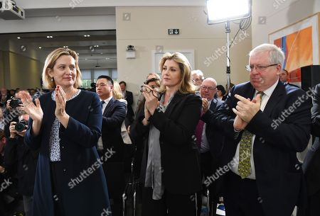 Britain's Work and Pensions Secretary Amber Rudd (L), Defence secretary Penny Mordaunt (C) and MP Patrick McLoughlin (R) listen to Britain's Foreign Secretary Jeremy Hunt as he launches his bid to become the leader of the Conservative Party in central London, Britain, 10 June 2019. The deadline for candidates to announce their intention of becoming a party leader is 10 June 2019.