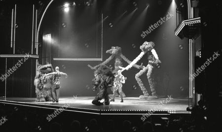 Pop Band: Right Said Fred: Rob Manzoli, Fred Fairbrass, and Richard Fairbrass performing with The Muppets: Doglion, Sweetums and Grover