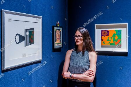 Real Virtue by Patrick Caulfield, est £7-10,000,  I Ebony by Peter Blake, est £35-55,000 and Mini Painting by Patrick Heron, est £18-25,000