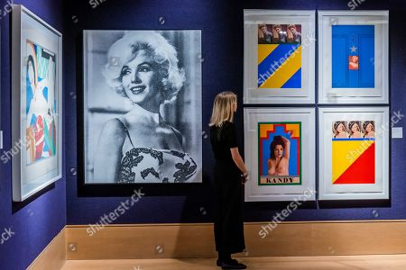 Stock Picture of Marilyn Desire by Russell Young, est £5-7,000, and Replay, a set of screenprint works by Sir Peter Blake, est £10-15,000