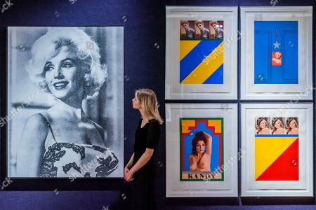 Stock Photo of Marilyn Desire by Russell Young, est £5-7,000, and Replay, a set of screenprint works by Sir Peter Blake, est £10-15,000