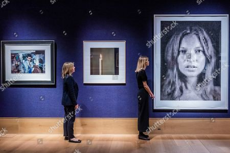 I'm Dreaming of a Black Christmas by Richard Hamilton, est £6-8,000, Kerse II by Gerhard Richter, est £30-50,000 and Kate by Chuck Close, est £45-65,000