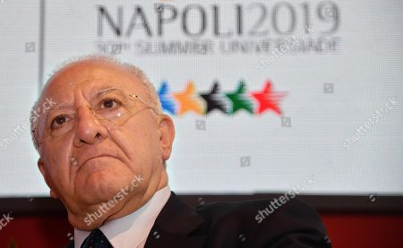 The president of the Campania Region, Vincenzo De Luca attends a press conference on the 30th Summer Universiade, in Milan, Italy, 10 June 2019. The 30th Summer Universiade will be held in Naples from 3 to 14 July.
