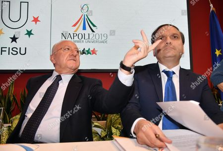 The president of the Campania Region, Vincenzo De Luca (L), and the Extraordinary Commissioner for the Universiade, Gianluca Basile, attend a press conference on the 30th Summer Universiade, in Milan, Italy, 10 June 2019. The 30th Summer Universiade will be held in Naples from 3 to 14 July.