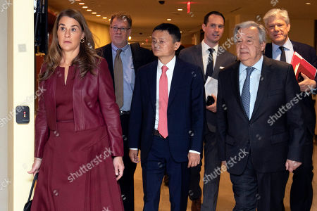 Melinad Gates, Jack Ma, Antonio Guterres. Melinda Gates, Jack Ma, center, and United Nations Secretary-General Antonio Guterres, right, walk to a television studio at U.N. headquarters, for a live conversation on digital cooperation
