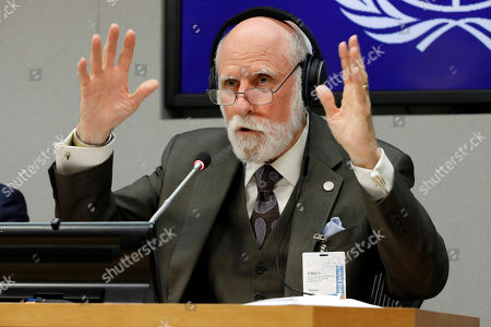 Stock Image of Vinton Cerf, vice president and Chief Internet Evangelist for Google, answers a question during a news conference at United Nations headquarters