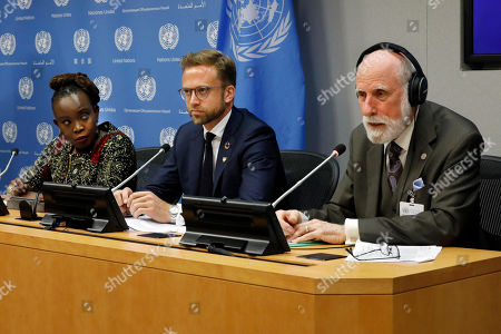 Stock Image of Nanjira Sambuli, Nikolai Astrup, Vinton Cerf. Nanjira Sambuli, left, Senior Policy Manger, World Wide Web Foundation; Nikolai Astrup, Minister of Digitalization of Norway, center; and Vinton Cerf, vice president and Chief Internet Evangelist for Google, participate in a news conference at United Nations headquarters