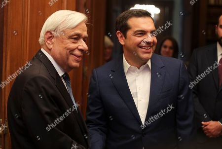 Alexis Tsipras, Karolos Papoulias. Greek prime Minister Alexis Tsipras, right, meets with Greek President Karolos Papoulias in Athens, on Monday 10, 2019. Tsipras visited Greece's president to formally call for the dissolution of parliament and early elections on July 7, following his party's heavy defeat in European elections last month