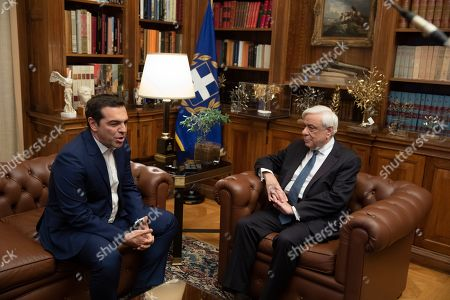 Alexis Tsipras, Karolos Papoulias. Greek prime Minister Alexis Tsipras, left, meets with Greek President Karolos Papoulias in Athens, on Monday 10, 2019. Tsipras visited Greece's president to formally call for the dissolution of parliament and early elections on July 7, following his party's heavy defeat in European elections last month