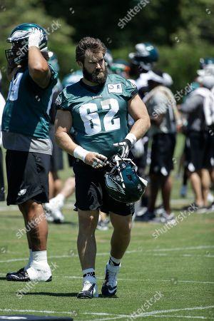 Philadelphia Eagles center Jason Kelce at the NFL football team's practice facility in Philadelphia