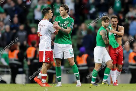 Republic of Ireland vs Gibraltar . Ireland's Jeff Hendrick shakes hands with John Sergeant of Gibraltar after the game