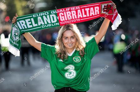 Stock Photo of Republic of Ireland vs Gibraltar . Ireland fan Sarah Smyth from Kildare