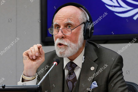 Stock Picture of Vinton Cerf, vice president and Chief Internet Evangelist for Google, participates in a news conference at United Nations headquarters