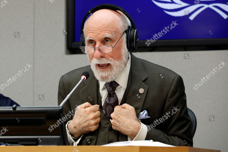 Vinton Cerf, vice president and Chief Internet Evangelist for Google, participates in a news conference at United Nations headquarters