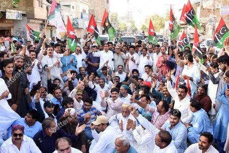 Supporters of opposition party Pakistan Peoples Party shout slogans after party's chairman and former President Asif Ali Zardari was arrested by the National Accountability Bureau (NAB), in Larkana, Pakistan, 10 June 2019. Zardari was arrested by NAB after Islamabad High Court on 10 June rejected the extension in bail of Zardari in a case pertaining to the alleged laundering of billions through fake bank accounts.
