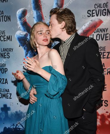 """Stock Picture of Katya Zvereva, Caleb Landry Jones. Actor Caleb Landry Jones, right, and artist Katya Zvereva attend the premiere of """"The Dead Don't Die"""" at the Museum of Modern Art, in New York"""