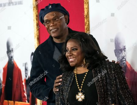 "Samuel L. Jackson, LaTanya Richardson. Samuel L. Jackson and LaTanya Richardson attend the premiere of ""Shaft,"" at AMC Lincoln Square, in New York"
