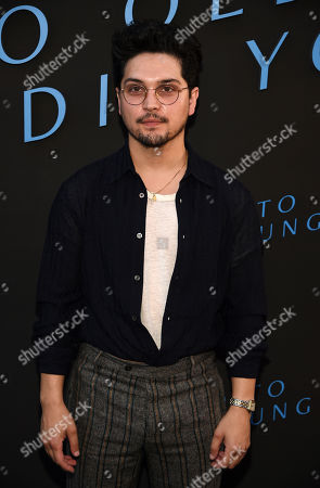 """Augusto Aguilera, a cast member in the Amazon Prime series """"Too Old to Die Young,"""" poses at a special screening of the show at the Vista Theatre, in Los Angeles"""
