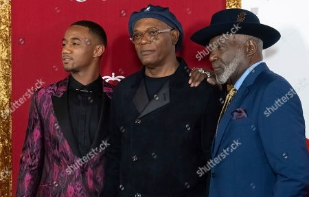 "Jessie T. Usher, Samuel L. Jackson, Richard Roundtree. Jessie T. Usher, left, Samuel L. Jackson and Richard Roundtree attend the premiere of ""Shaft"" at AMC Lincoln Square, in New York"