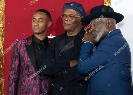 """Jessie T. Usher, Samuel L. Jackson, Richard Roundtree. Jessie T. Usher, left, Samuel L. Jackson and Richard Roundtree attend the premiere of """"Shaft"""" at AMC Lincoln Square, in New York"""