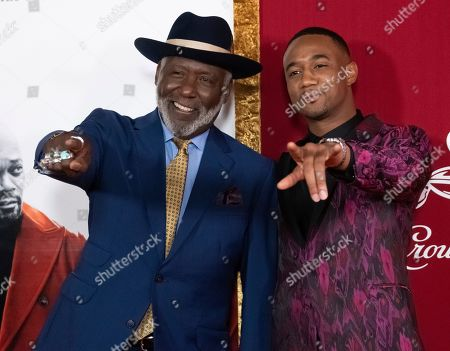"""Richard Roundtree, Jessie T. Usher. Richard Roundtree, left, and Jessie T. Usher attend the premiere of """"Shaft"""" at AMC Lincoln Square, in New York"""