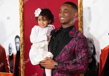 """Jessie T. Usher and daughter attend the premiere of """"Shaft"""" at AMC Lincoln Square, in New York"""