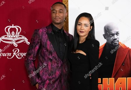 """Stock Photo of Jessie T. Usher, Tristin Mays. Jessie T. Usher and Tristin Mays attend the premiere of """"Shaft"""" at AMC Lincoln Square, in New York"""