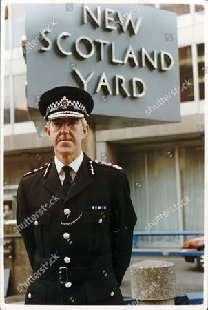 Commissioner Of The Metropolitan Police Paul Condon Baron Condon Standing Outside New Scotland Yard Police Station.